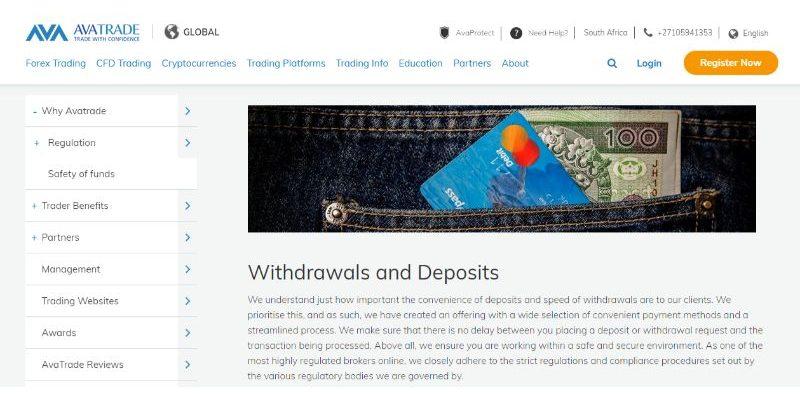AvaTrade Withdrawals & Deposits